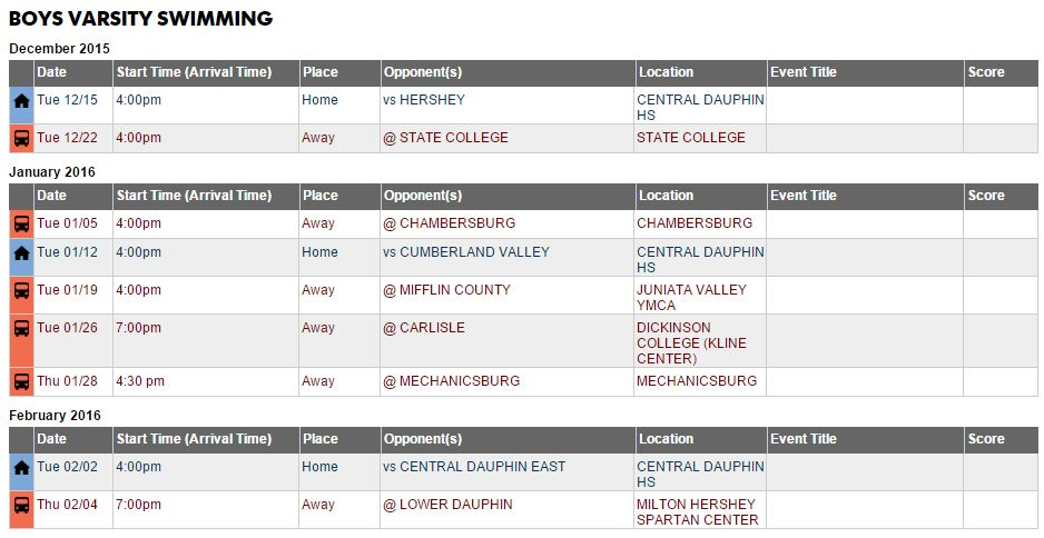 Parent Meetings Announced Physicals Tentative Schedule Central Dauphin Swimming